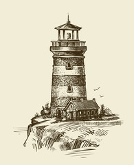 Lighthouse on seashore, sketch. Seascape vintage vector illustration