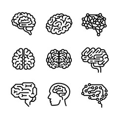 Brain icon set. Outline set of brain vector icons for web design isolated on white background