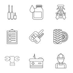 Autorepair shop icons set. Outline set of 9 autorepair shop vector icons for web isolated on white background