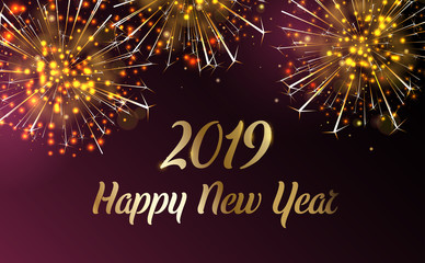 Happy 2019 New Year greeting card with firework.