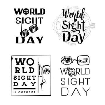 World sight day banner set. Simple illustration of world sight day vector banner set for web design