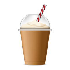 Ice coffee icon. Realistic illustration of ice coffee vector icon for web design isolated on white background