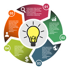 5 step vector element in five colors with labels, infographic diagram. Business concept of 5 steps or options with light bulb