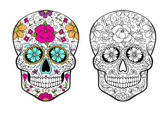 Sugar Skull Coloring page with color example