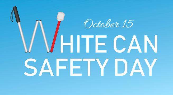 White cane october day concept banner. Realistic illustration of white cane october day vector concept banner for web design
