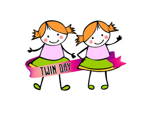 Twins day. Congratulation vector card