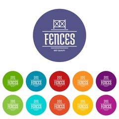 Fence quality icons color set vector for any web design on white background