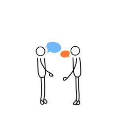 two stick men talking vector for web