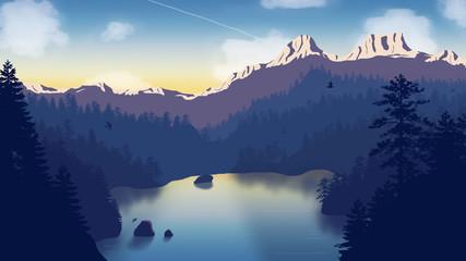 Flat lake in mountains