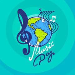 International music day concept background. Hand drawn illustration of international music day vector concept background for web design