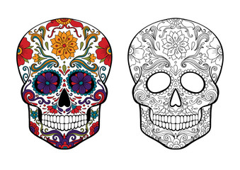 sugar skull, day of death vector illustration, page for coloring with a sample