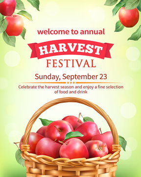 Harvest festival poster design with apples. Invitation for crop fest. Vector illustration.