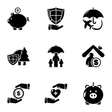 Financial system icons set. Simple set of 9 financial system vector icons for web isolated on white background