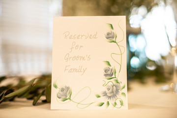 Reserved Table Sign Grooms Family