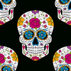 Halloween seamless pattern with sugar skull