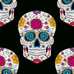 Halloween seamless pattern with sugar skull