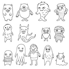 set of doodle monsters