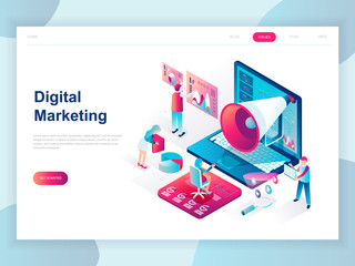 Modern flat design isometric concept of Digital Marketing for banner and website. Isometric landing page template. Business analysis, content strategy and management. Vector illustration. Wall mural