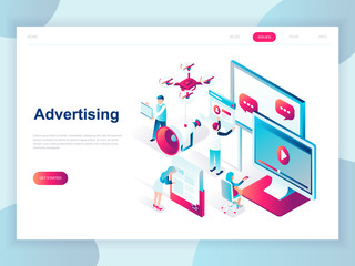 Modern flat design isometric concept of Advertising and Promotion for banner and website. Isometric landing page template. Social media campaign, marketing research. Vector illustration.