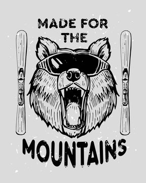 Bear skier in ski glasses. Hand drawn illustration converted to vector. Great for poster, labels, prints