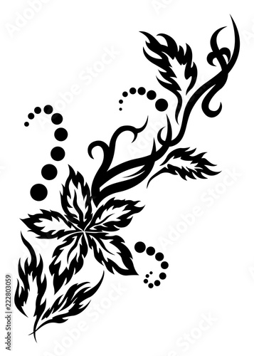 Black Tribal Flower Tattoo Illustration With Leaves And Dots Stock