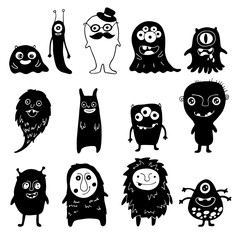 set of black and white doodle monsters