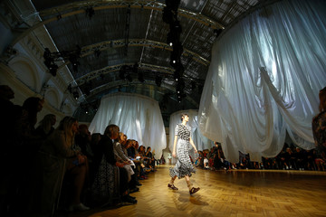 Models present creations at the Preen by Thornton Bregazzi catwalk show at London Fashion Week Women's in London
