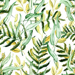 Seamless Realistic Watercolor Greenery Pattern. Hand Drawn Leaves and Branches Print. Summer, Spring Forest Herbs, Plants Texture. Foliage in Vintage Style. Nature Eco Friendly Concept. Textile.