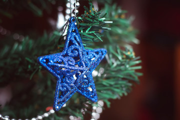 Blue star on christmas tree