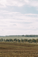 The road among the fields and mowed grass. Russian plains, autumn landscape in the afternoon