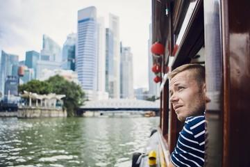 Young tourist exploring city