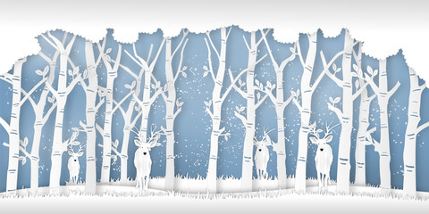 Deers in forest in the winter season with trees and snow  as Paper art and digital craft style concept. vector illustration