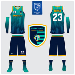 Basketball uniform or sport jersey, shorts, socks template for basketball club. Front and back view sport t-shirt design. Tank top t-shirt mock up with basketball flat logo design. Vector
