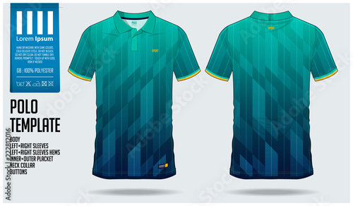 655afd63fe5 Blue and green gradient Polo t-shirt sport template design for soccer jersey