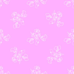 Garden flora sweet pea blossom and leaves seamless pattern vector. Pink background