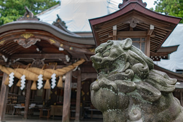 Guardian dog statue (Komainu) at Shirayamahime Shrine, Ishikawa, Japan 白山比咩神社 狛犬