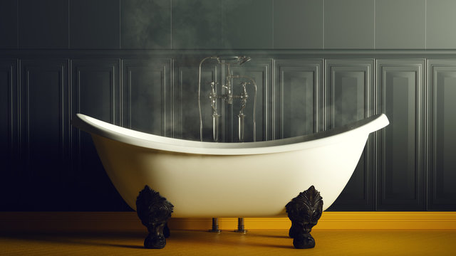 Steamy Dark Blue and Yellow Bathroom With Iron Bath 3d illustration 3d render