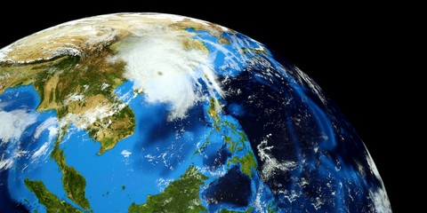 Extremely detailed and realistic high resolution 3D illustration of a Typhoon hitting  mainland China. Shot from Space. Elements of this image are furnished by Nasa.