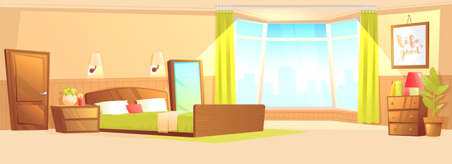 Bedroom interior with a bed, nightstand, wardrobe and window and plant.