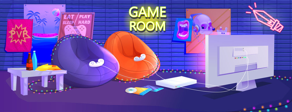 Teen game room interior. Play video games on the console with comfortable armchairs and snacks for gamers