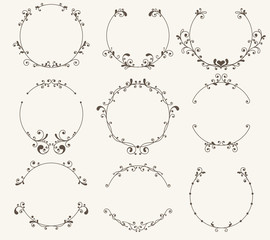 Vector set of border circle frame