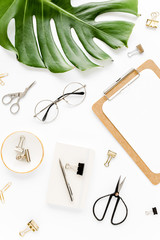 Mockup with clipboard, palm leaf, clips. Flat lay, top view
