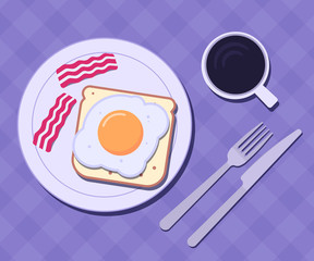Plate with egg and bacon on a table. Breakfast concept. Vector illustration
