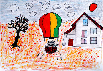 Child hand drawing. Cat in a hot air balloon ready to fly in autumn day.