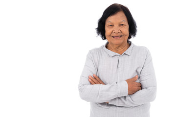 senior woman with arms crossed isolated on white background