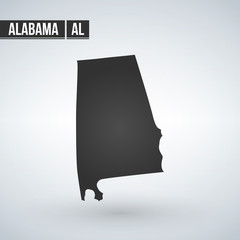 map of the U.S. state of Alabama, vector illustration isolated on modern background.