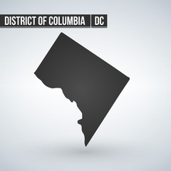 Map of the U.S. District of Columbia, vector illustration.