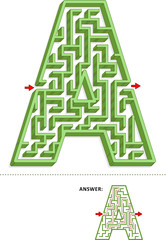 Learning alphabet activity - letter A three-dimensional maze. Use it as is or add fun cartoon characters. Answer included.