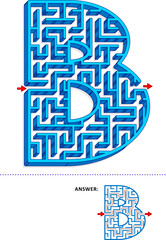 Learning alphabet activity - letter B three-dimensional maze. Use it as is or add fun cartoon characters. Answer included.