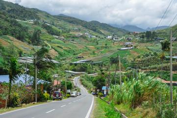 Road through the mountains in Kundasang (Malaysia)